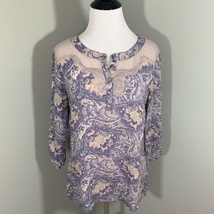 BKE Boutique delicate top floral with lace detail
